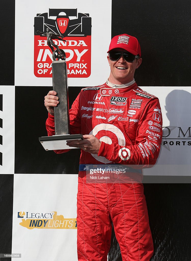 <a gi-track='captionPersonalityLinkClicked' href=/galleries/search?phrase=Scott+Dixon&family=editorial&specificpeople=183395 ng-click='$event.stopPropagation()'>Scott Dixon</a> of New Zealand, driver of the #9 Target Chip Ganassi Honda celebrates his second place during the Honda Indy Grand Prix of Alabama at Barber Motorsports Park on April 7, 2013 in Birmingham, Alabama.