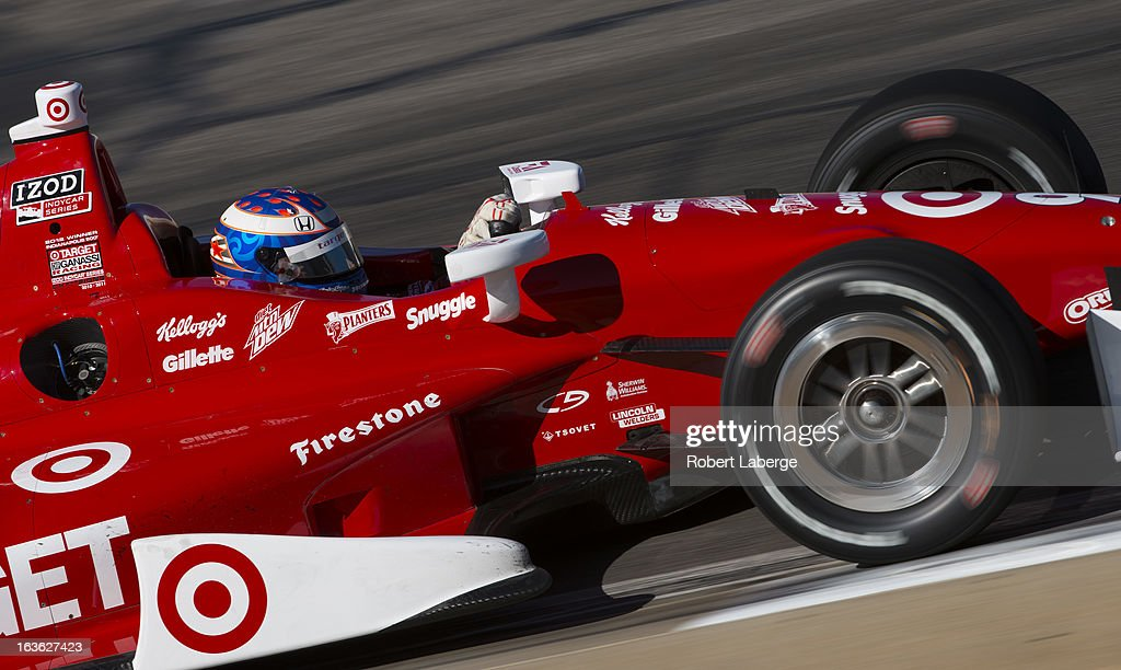 <a gi-track='captionPersonalityLinkClicked' href=/galleries/search?phrase=Scott+Dixon&family=editorial&specificpeople=183395 ng-click='$event.stopPropagation()'>Scott Dixon</a> of New Zealand driver of the #9 Target Chip Ganassi Racing Dallara Honda during Day Two of IZOD IndyCar Series testing at Barber Motorsports Park on March 13, 2013 in Birmingham, Alabama.
