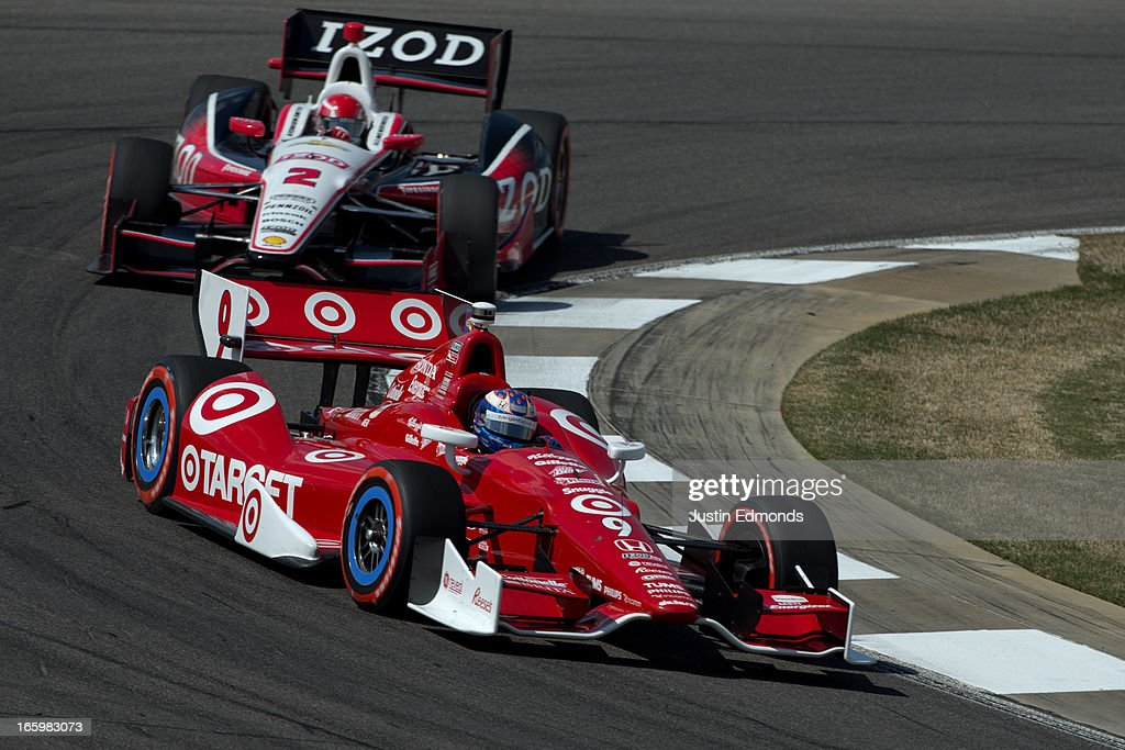 <a gi-track='captionPersonalityLinkClicked' href=/galleries/search?phrase=Scott+Dixon&family=editorial&specificpeople=183395 ng-click='$event.stopPropagation()'>Scott Dixon</a> of New Zealand, driver of the #9 Target Chip Ganassi Racing Honda races against <a gi-track='captionPersonalityLinkClicked' href=/galleries/search?phrase=A.J.+Allmendinger&family=editorial&specificpeople=559324 ng-click='$event.stopPropagation()'>A.J. Allmendinger</a>, driver of the #2 IZOD Team Penske Chevrolet during the Honda Indy Grand Prix of Alabama at Barber Motorsports Park on April 7, 2013 in Birmingham, Alabama.