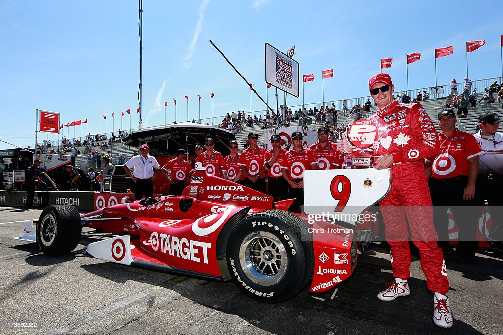 <a gi-track='captionPersonalityLinkClicked' href=/galleries/search?phrase=Scott+Dixon&family=editorial&specificpeople=183395 ng-click='$event.stopPropagation()'>Scott Dixon</a> of New Zealand, driver of the #9 Target Chip Ganassi Racing Honda poses with the Verizon P1 Pole Award following qualifying for the IZOD INDYCAR Series Honda Indy Toronto Race #2 on July 13, 2013 in Toronto, Canada.