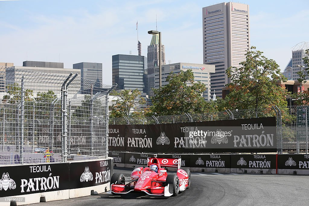 Scott Dixon of New Zealand, driver of the #9 Target Chip Ganassi Racing Chevrolet Dallara, during the final warm up before the IZOD IndyCar Series Baltimore Grand Prix on September 1, 2013 in Baltimore, Maryland.
