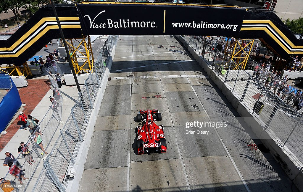 Scott Dixon, of New Zealand, driver of the #9 Target Chip Ganassi Racing Honda Dallara drives down the front stretch during the Grand Prix of Baltimore on September 1, 2013 in Baltimore, Maryland.