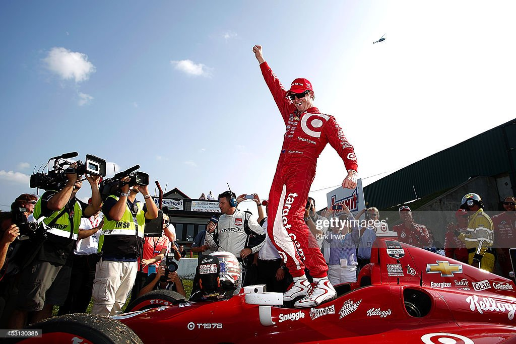 <a gi-track='captionPersonalityLinkClicked' href=/galleries/search?phrase=Scott+Dixon&family=editorial&specificpeople=183395 ng-click='$event.stopPropagation()'>Scott Dixon</a> of New Zealand, driver of the #9 Target Chip Ganassi Racing Dallara Chevrolet, celebrates after winning the Verizon IndyCar Series Honda Indy 200 at Mid-Ohio Sports Car Course on August 3, 2014 in Lexington, Ohio.