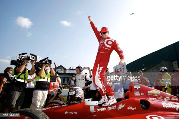 Scott Dixon of New Zealand driver of the Target Chip Ganassi Racing Dallara Chevrolet celebrates after winning the Verizon IndyCar Series Honda Indy...