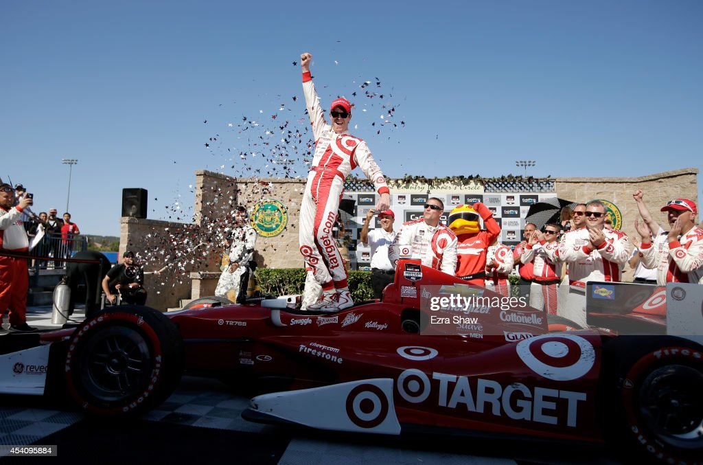 <a gi-track='captionPersonalityLinkClicked' href=/galleries/search?phrase=Scott+Dixon&family=editorial&specificpeople=183395 ng-click='$event.stopPropagation()'>Scott Dixon</a> of New Zealand, driver of the #9 Target Chip Ganassi Racing Chevrolet, celebrates after winning the Verizon IndyCar Series GoPro Grand Prix of Sonoma at Sonoma Raceway on August 24, 2014 in Sonoma, California.