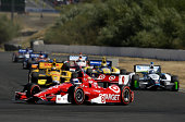 Scott Dixon of New Zealand driver of the Target Chip Ganassi Racing Chevrolet leads a group of cars during the Verizon IndyCar Series GoPro Grand...