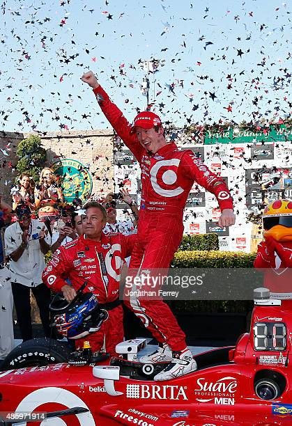 Scott Dixon of New Zealand driver of the Target Chip Ganassi Racing Chevrolet Dallara celebrates winning the IndyCar Championship for the Verizon...