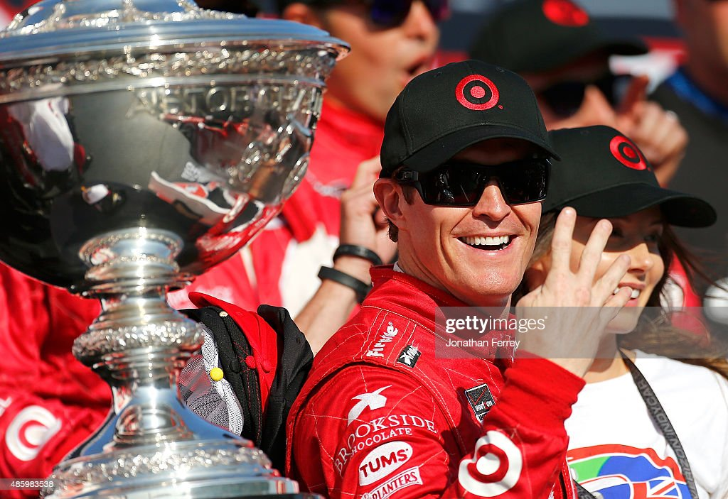 <a gi-track='captionPersonalityLinkClicked' href=/galleries/search?phrase=Scott+Dixon&family=editorial&specificpeople=183395 ng-click='$event.stopPropagation()'>Scott Dixon</a> of New Zealand, driver of the #9 Target Chip Ganassi Racing Chevrolet Dallara celebrates winning the Verizon IndyCar Series GoPro Grand Prix of Sonoma at Sonoma Raceway on August 30, 2015 in Sonoma, California. Dixon clinched the championship with his win.