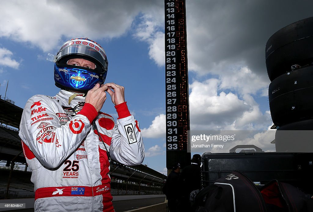 <a gi-track='captionPersonalityLinkClicked' href=/galleries/search?phrase=Scott+Dixon&family=editorial&specificpeople=183395 ng-click='$event.stopPropagation()'>Scott Dixon</a> of New Zealand, driver of the #9 Target Chip Ganassi Racing Chevrolet Dallara waits to qualify for the 98th Indianapolis 500 Mile Race on May 17, 2014 at the Indianapolis Motor Speedway in Indianapolis, Indiana.