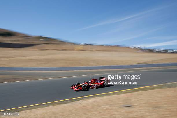 Scott Dixon of New Zealand driver of the Target Chip Ganassi Racing Chevrolet drives during practice for the GoPro Grand Prix of Sonoma at Sonoma...