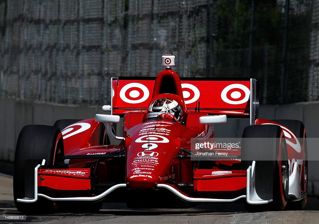<a gi-track='captionPersonalityLinkClicked' href=/galleries/search?phrase=Scott+Dixon&family=editorial&specificpeople=183395 ng-click='$event.stopPropagation()'>Scott Dixon</a> of New Zealand drives his #9 Target Chip Ganassi Racing Honda Dallara DW12 during qualifying for the IZOD INDYCAR Series Chevrolet Detroit Belle Isle Grand Prix on Belle Isle on June 2, 2012 in Detroit, Michigan.