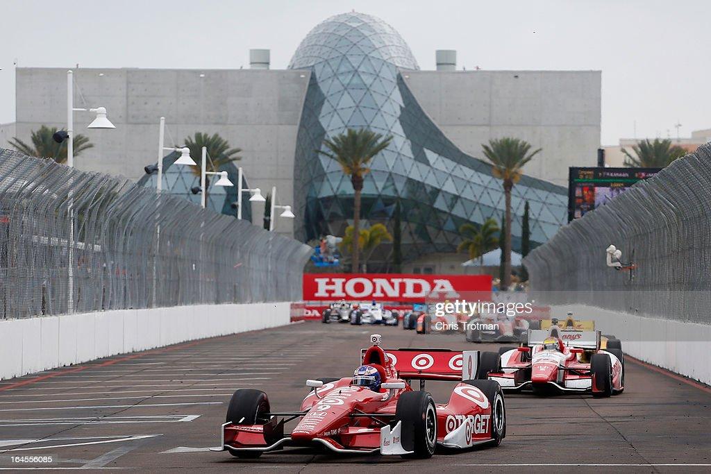 Scott Dixon of New Zealand, drives the #9 Target Chip Ganassi Racing Dallara Honda in the IZOD IndyCar Series Honda Grand Prix of St Petersburg on March 24, 2013 in St Petersburg, Florida.