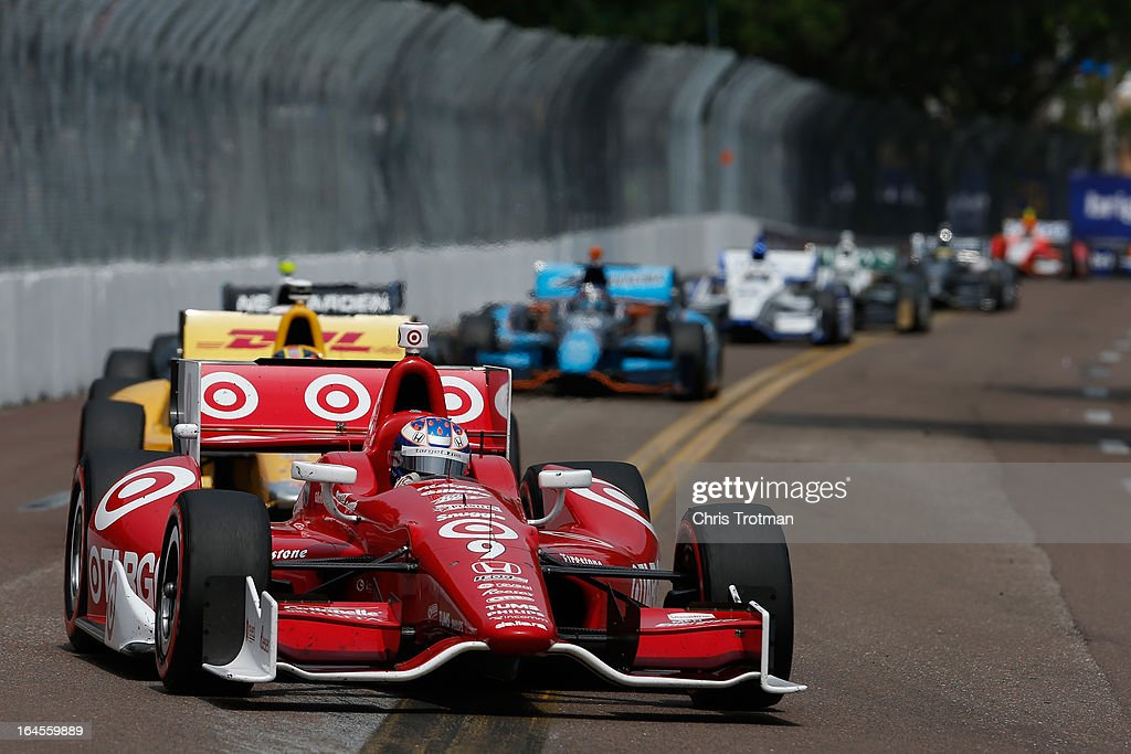 <a gi-track='captionPersonalityLinkClicked' href=/galleries/search?phrase=Scott+Dixon&family=editorial&specificpeople=183395 ng-click='$event.stopPropagation()'>Scott Dixon</a> of New Zealand, drives the #9 Target Chip Ganassi Racing Dallara Honda in the IZOD IndyCar Series Honda Grand Prix of St Petersburg on March 24, 2013 in St Petersburg, Florida.