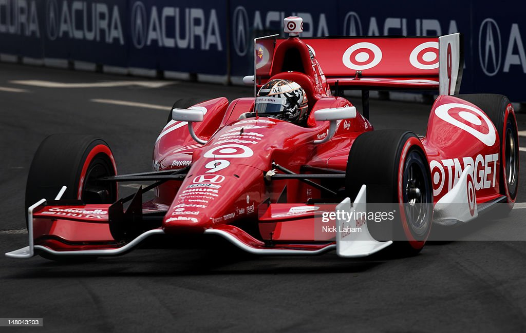 Scott Dixon of New Zealand, drives the #9 Target Chip Ganassi Racing Honda during the IZOD INDYCAR Series Honda Indy Toronto on July 8, 2012 in Toronto, Canada.