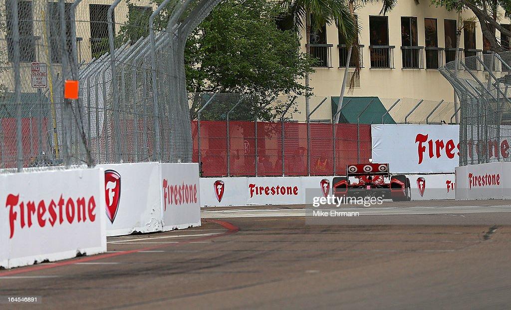 Scott Dixon of New Zealand, drives the #9 Target Chip Ganassi Racing Dallara Honda during the Honda Grand Prix of St. Petersburg on March 24, 2013 in St Petersburg, Florida.