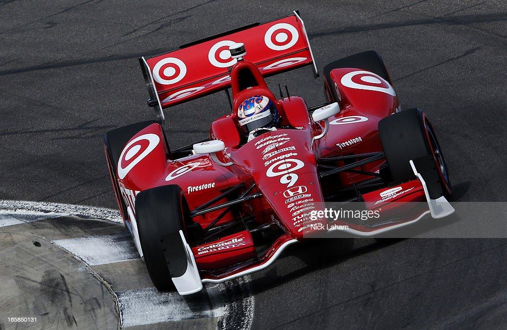 Scott Dixon of New Zealand, drives the #9 Target Chip Ganassi Racing Honda during qualifying for the Honda Indy Grand Prix of Alabama at Barber Motorsports Park on April 6, 2013 in Birmingham, Alabama.