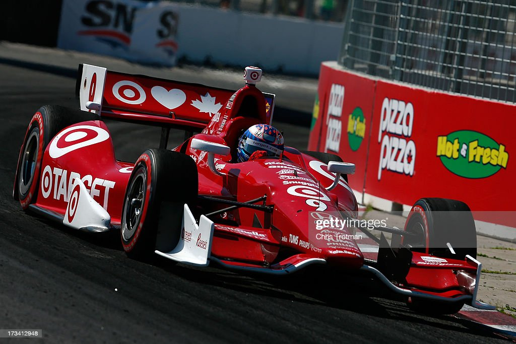 <a gi-track='captionPersonalityLinkClicked' href=/galleries/search?phrase=Scott+Dixon&family=editorial&specificpeople=183395 ng-click='$event.stopPropagation()'>Scott Dixon</a> of New Zealand drives the #9 Target Chip Ganassi Racing Honda during the IZOD INDYCAR Series Honda Indy Toronto Race #1 on July 13, 2013 in Toronto, Canada.