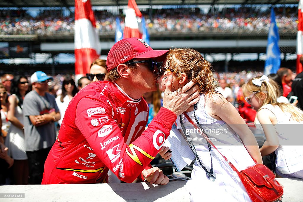 <a gi-track='captionPersonalityLinkClicked' href=/galleries/search?phrase=Scott+Dixon&family=editorial&specificpeople=183395 ng-click='$event.stopPropagation()'>Scott Dixon</a> of New Zealand kisses his daughter before the 100th Running of the Indianapolis 500 Mile Race at Indianapolis Motorspeedway on May 29, 2016 in Indianapolis, Indiana.
