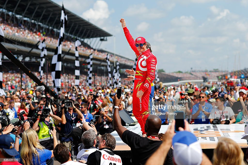 <a gi-track='captionPersonalityLinkClicked' href=/galleries/search?phrase=Scott+Dixon&family=editorial&specificpeople=183395 ng-click='$event.stopPropagation()'>Scott Dixon</a> of New Zealand waves to the crowd before the 100th Running of the Indianapolis 500 Mile Race at Indianapolis Motorspeedway on May 29, 2016 in Indianapolis, Indiana.