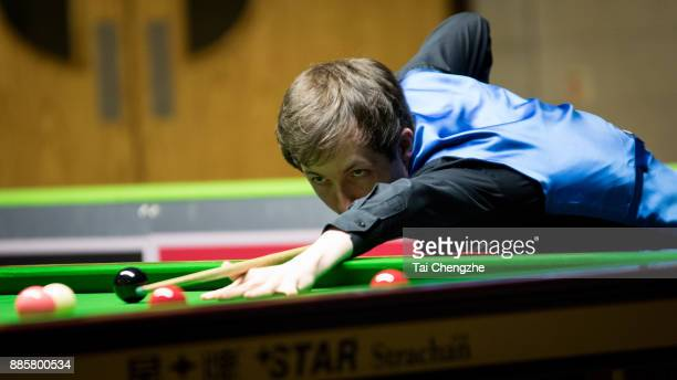 Scott Donaldson of Scotland plays a shot during his third round match against Li Hang of China on day 8 of 2017 Betway UK Championship at Barbican...