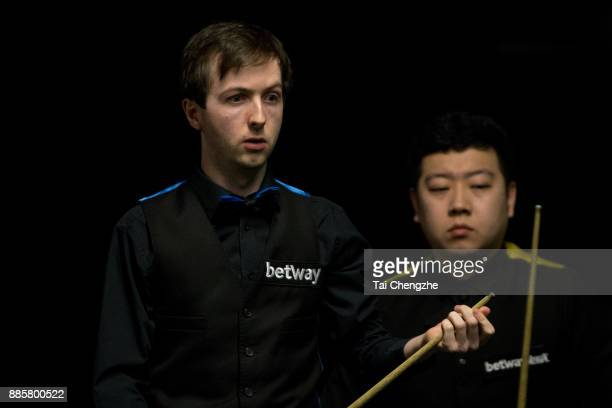 Scott Donaldson of Scotland reacts during his third round match against Li Hang of China on day 8 of 2017 Betway UK Championship at Barbican Centre...