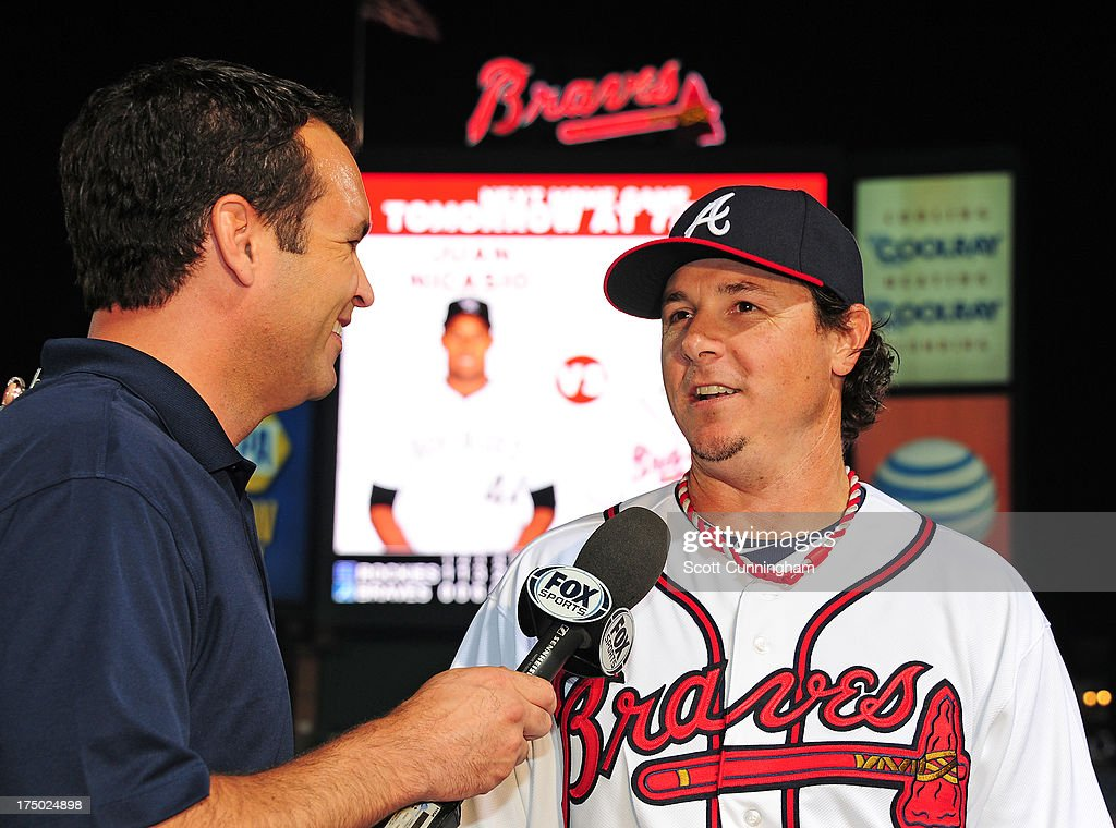 <a gi-track='captionPersonalityLinkClicked' href=/galleries/search?phrase=Scott+Downs&family=editorial&specificpeople=240337 ng-click='$event.stopPropagation()'>Scott Downs</a> #32 of the Atlanta Braves is interviewed after the game against the Colorado Rockies at Turner Field on July 29, 2013 in Atlanta, Georgia.