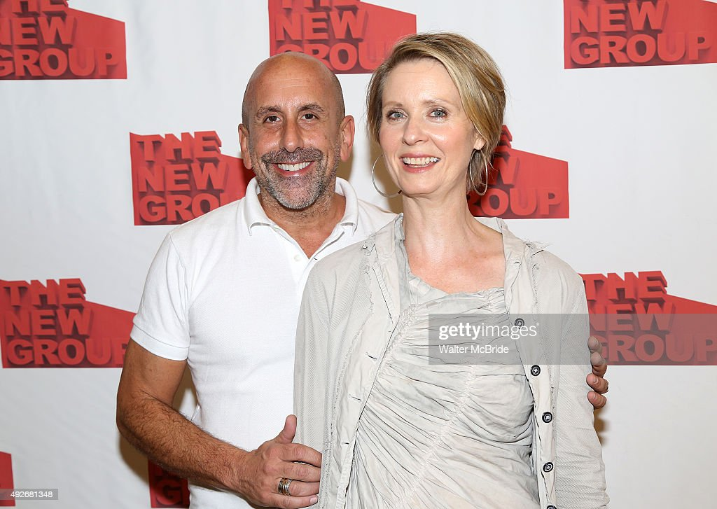Scott Elliott and Cynthia Nixon attend the photo call for the cast of the of New Group World Premiere production of the Mark Gerrard play 'Steve' at...