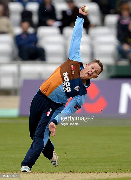 Scott Elstone of Derbyshire Falcons during their Natwest T20 Blast between Yorkshire Vikings and Derbyshire Falcons at Headingley on May 30 2014 in...