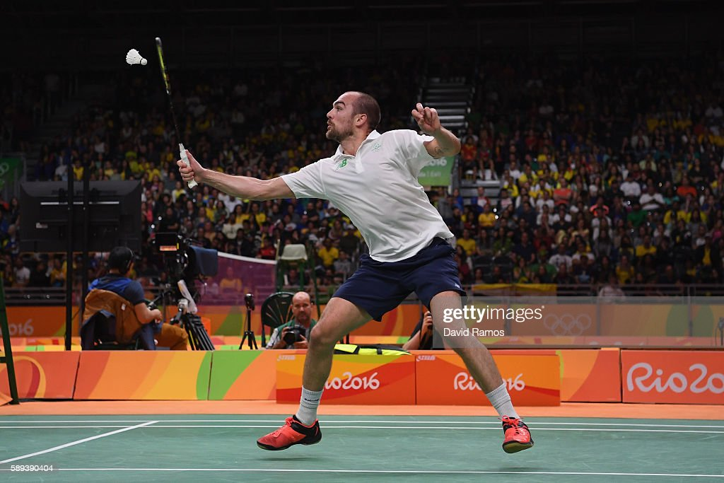 Scott Evans of Ireland celebrates competes against Ygor Coelho de Oliveira of Brazil during the Men's Singles Play Stage Group K match on Day 8 of...