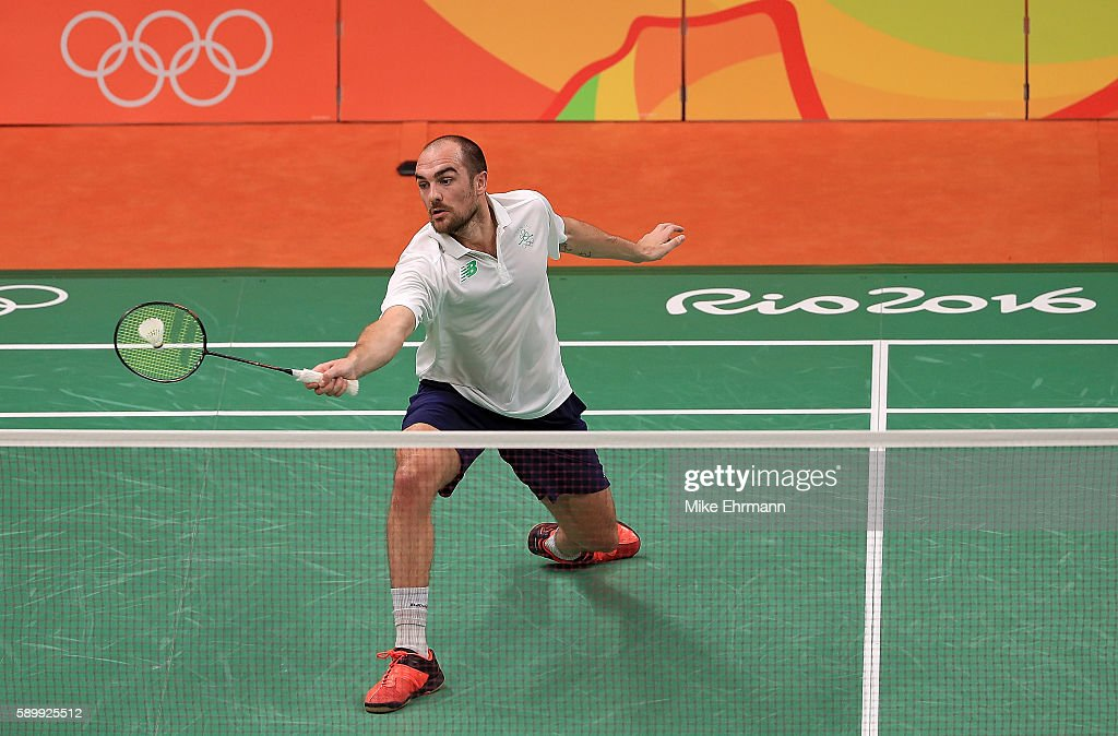 Scott Evans of Ireland plays a match against Viktor Axelsen of Denmark on Day 10 of the 2016 Rio Olympics at Riocentro Pavillion on August 15 2016 in...
