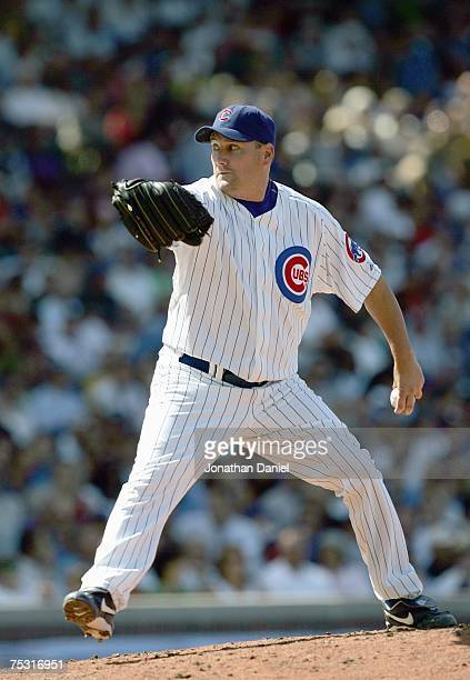 Scott Eyre of the Chicago Cubs delivers the pitch during the game against the Milwaukee Brewers on June 30 2007 at Wrigley Field in Chicago Illinois