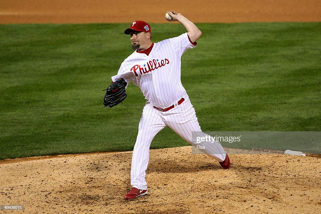 Scott Eyre #47 of the Philadelphia Phillies pitches against the Tampa Bay Rays during game three of the 2008 MLB World Series on October 25, 2008 at Citizens Bank Park in Philadelphia, Pennsylvania.