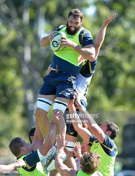 Scott Fardy competes at the lineout during an Australian Wallabies training session at Ballymore Stadium on July 14 2015 in Brisbane Australia