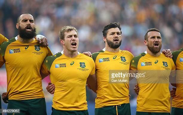 Scott Fardy David Pocock Adam AshleyCooper and Matt Giteau of Australia sing the national anthem prior to the 2015 Rugby World Cup Semi Final match...
