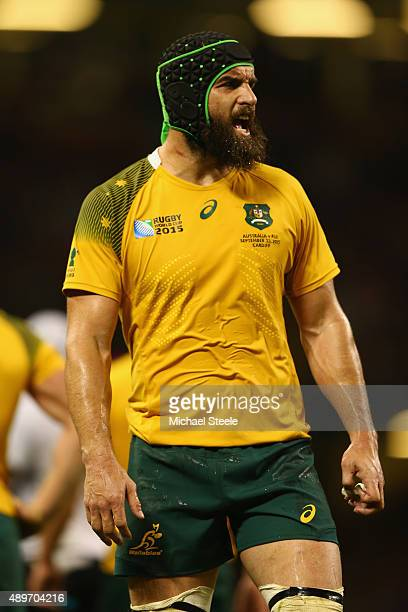 Scott Fardy of Australia during the 2015 Rugby World Cup Pool A match between Australia and Fiji at Millennium Stadium on September 23 2015 in...