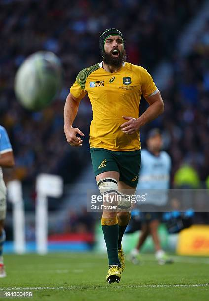 Scott Fardy of Australia in action during the 2015 Rugby World Cup Semi Final match between Argentina and Australia at Twickenham Stadium on October...