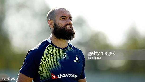 Scott Fardy of Australia looks on during a training session at Dulwich College on October 8 2015 in London United Kingdom