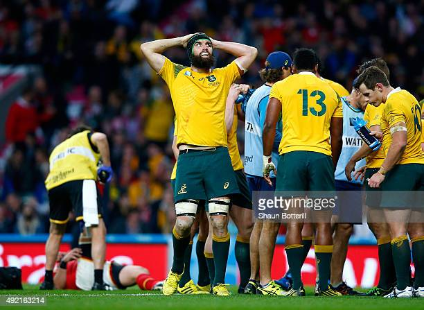 Scott Fardy of Australia reacts during the 2015 Rugby World Cup Pool A match between Australia and Wales at Twickenham Stadium on October 10 2015 in...