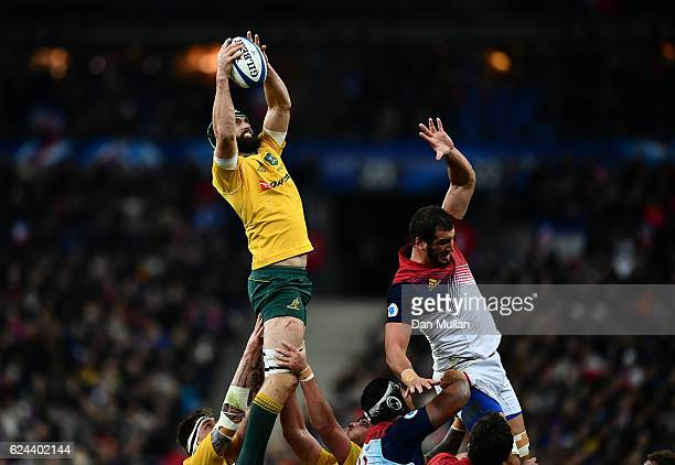 Scott Fardy of Australia rises to claim the lineout during the international match between France and Australia at Stade de France on November 19...