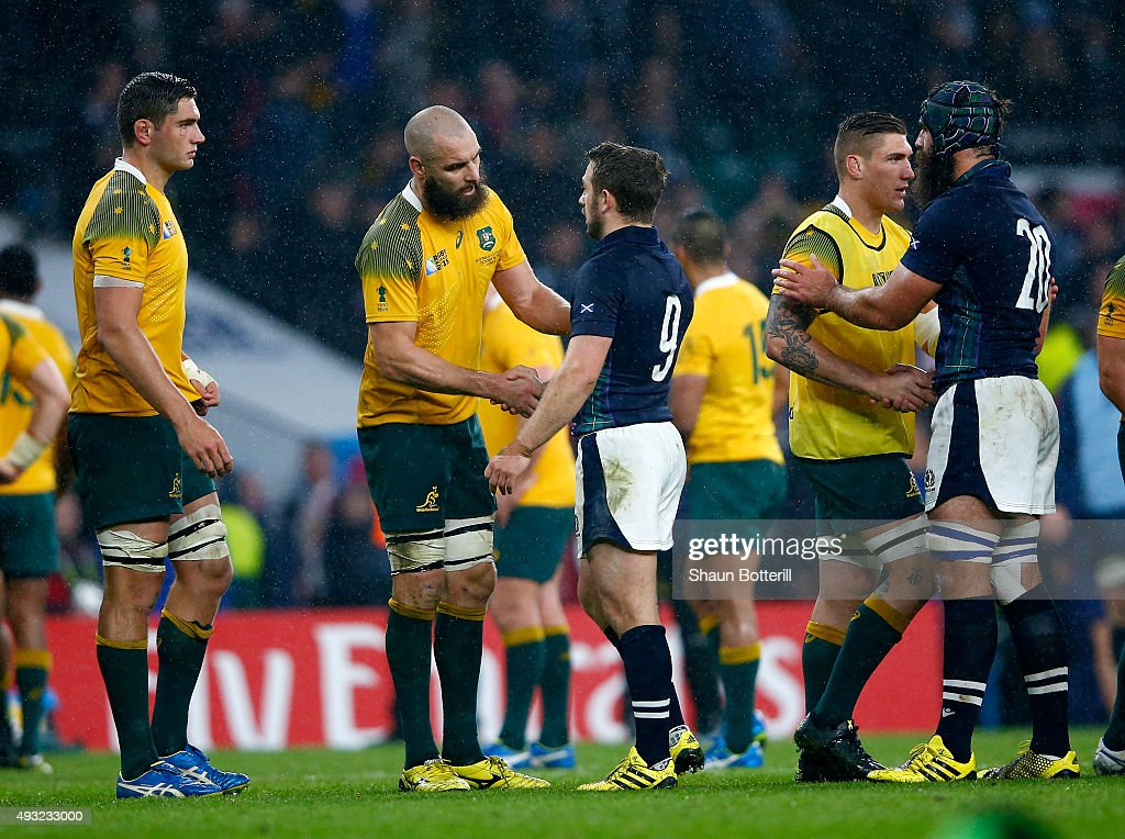Scott Fardy of Australia shakes hands with Greig Laidlaw of Scotland after the 2015 Rugby World Cup Quarter Final match between Australia and...