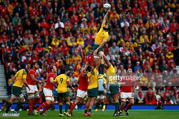 Scott Fardy of Australia wins a lineout ball during the 2015 Rugby World Cup Pool A match between Australia and Wales at Twickenham Stadium on...