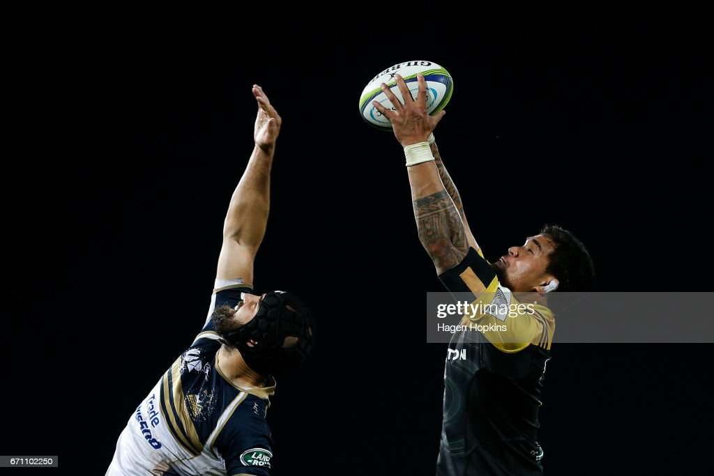 Scott Fardy of the Brumbies and Vaea Fifita of the Hurricanes compete for a lineout during the round nine Super Rugby match between the Hurricanes and the Brumbies at McLean Park on April 21, 2017 in Napier, New Zealand.