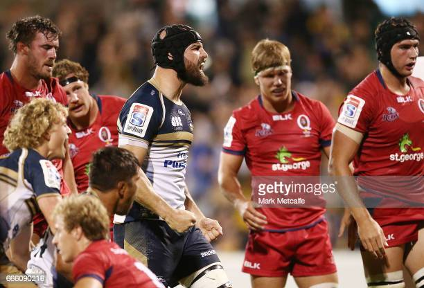 Scott Fardy of the Brumbies celebrates a try during the round seven Super Rugby match between the Brumbies and the Reds at GIO Stadium on April 8...