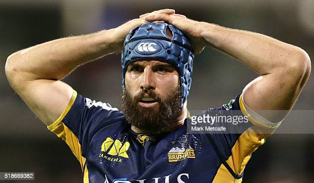 Scott Fardy of the Brumbies looks dejected after a Chiefs try during the round six Super Rugby match between the Brumbies and the Chiefs at GIO...