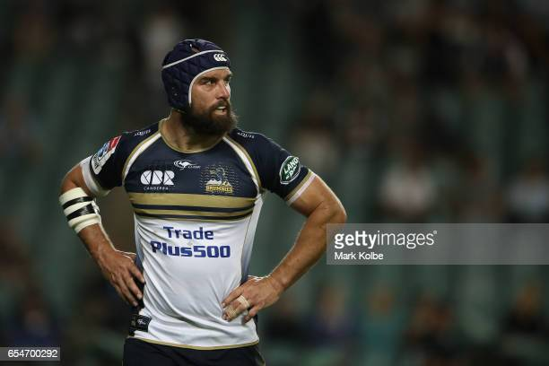 Scott Fardy of the Brumbies looks dejected after being shown a yellow card during the round four Super Rugby match between the Waratahs and the...
