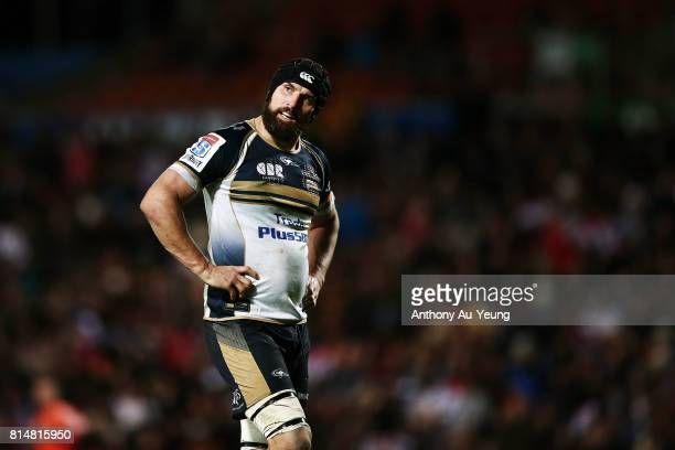 Scott Fardy of the Brumbies looks on during the round 17 Super Rugby match between the Chiefs and the Brumbies at Waikato Stadium on July 15 2017 in...