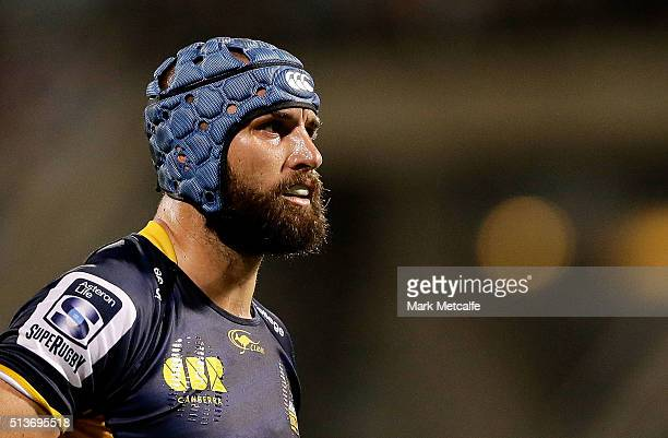 Scott Fardy of the Brumbies looks on during the round two NRL match between the Brumbies and the Waratahs at GIO Stadium on March 4 2016 in Canberra...