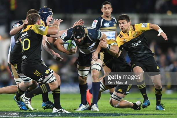 Scott Fardy of the Brumbies pushes forwards during the round nine Super Rugby match between the Hurricanes and the Brumbies at McLean Park on April...
