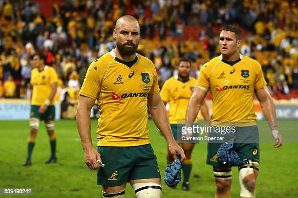 Scott Fardy of the Wallabies and James Horwill of the Wallabies look dejected after losing the International Test match between the Australian...