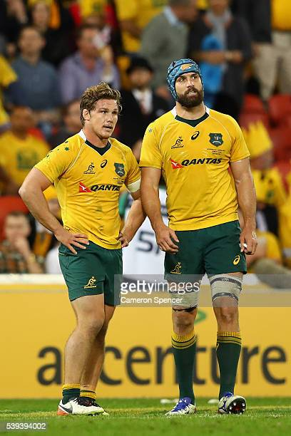 Scott Fardy of the Wallabies and Michael Hooper of the Wallabies look dejected during the International Test match between the Australian Wallabies...